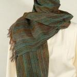 Echarpe laine et  soie bleu-vert tissée main