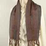 Echarpe laine et soie pourpre tissée main