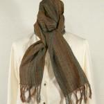 Echarpe laine et soie rouille tissée main