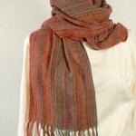 Echarpe en mousse de soie tissée main – coloris rouille