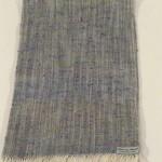 Echarpe soie écrue bleue