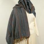 Etole laine et soie bleue tissée main