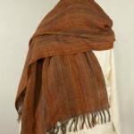 Etole laine soie orangée tissée main