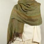 Etole laine et soie verte tissée main
